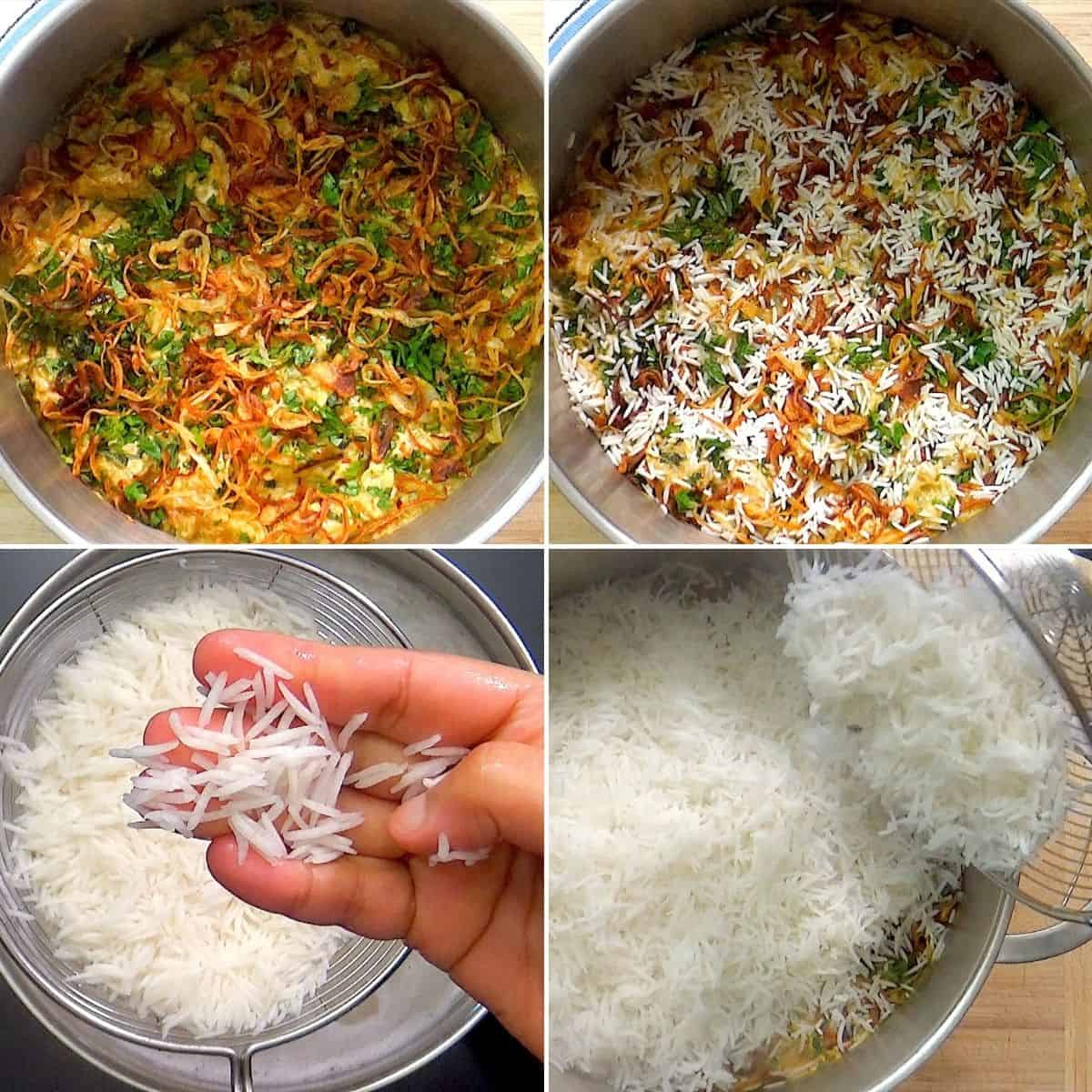 Cooking rice and layering with meat and marinade.