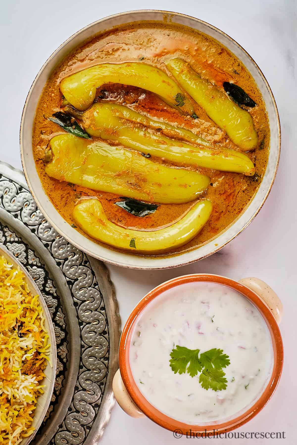 Mirchi ka salan served in a dish.