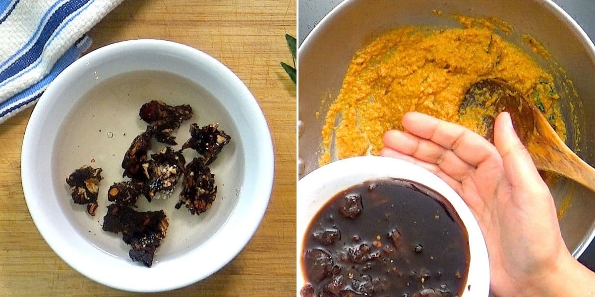 Making tamarind paste and adding to curry.