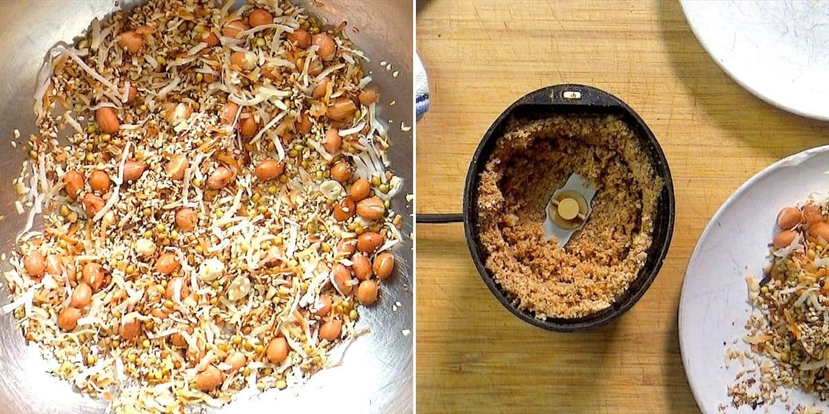 Roasting nuts and seeds and grinding to a powder.