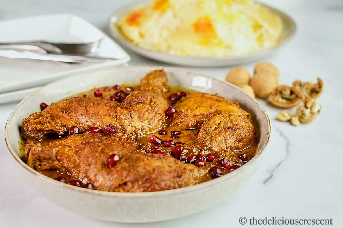 Front view of Persian chicken stew with pomegranate walnut sauce.