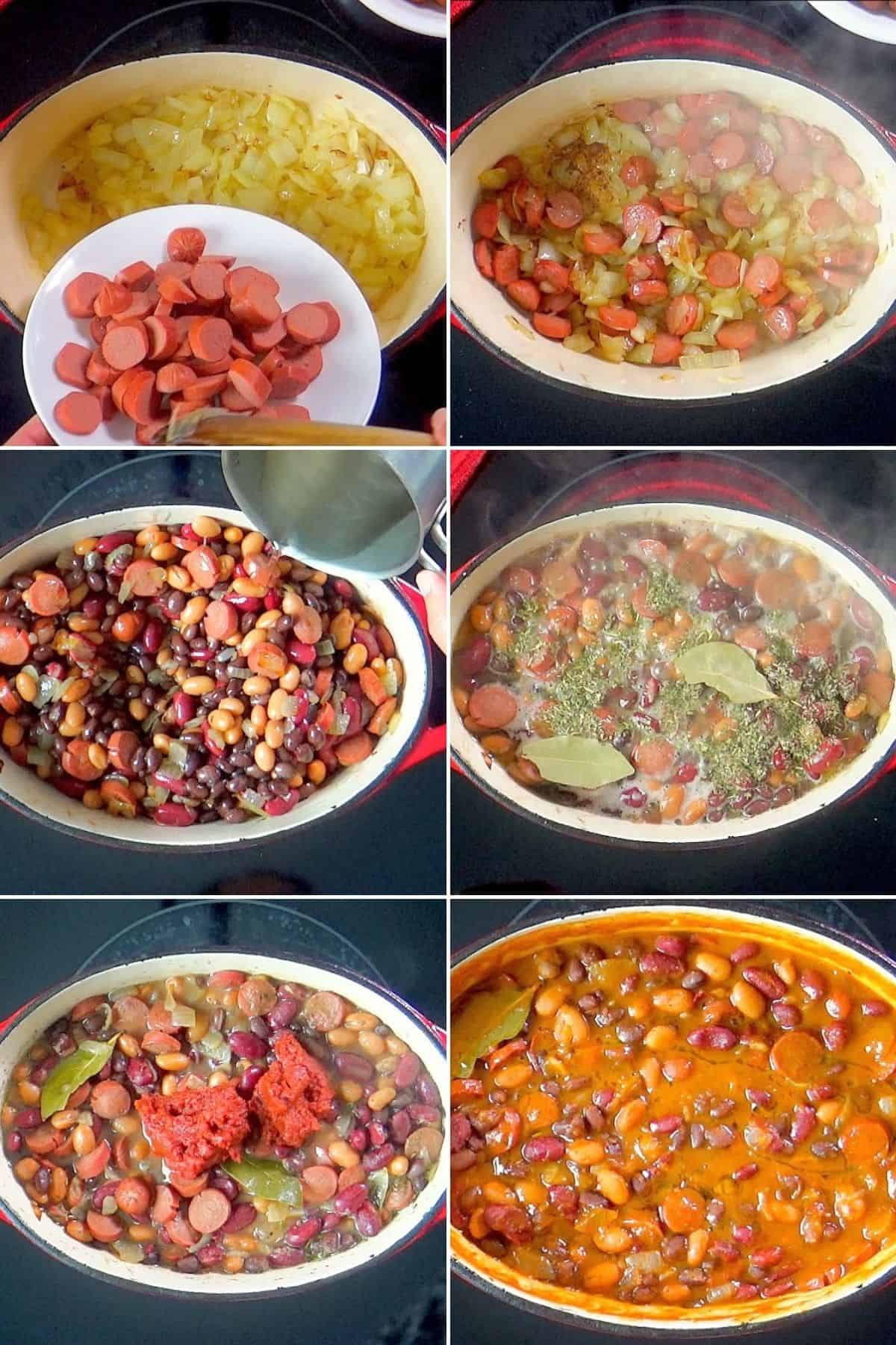 Steps for making bean and sausage stew.