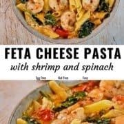 Feta cheese pasta pin image.